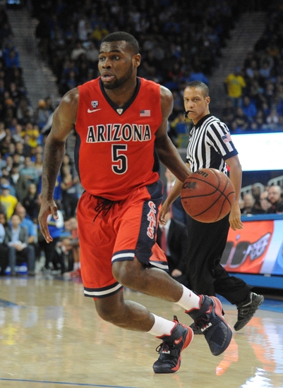 January 7, 2016; Los Angeles, CA, USA; Arizona Wildcats guard Kadeem Allen (5) moves the ball against UCLA Bruins during the first half at Pauley Pavilion. Mandatory Credit: Gary A. Vasquez-USA TODAY Sports