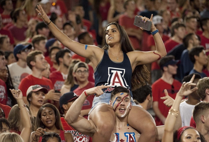 Sep 10, 2016; Tucson, AZ, USA; Arizona Wildcats fans cheer during the first quarter against the Grambling State Tigers at Arizona Stadium. Arizona won 31-21. Mandatory Credit: Casey Sapio-USA TODAY Sports