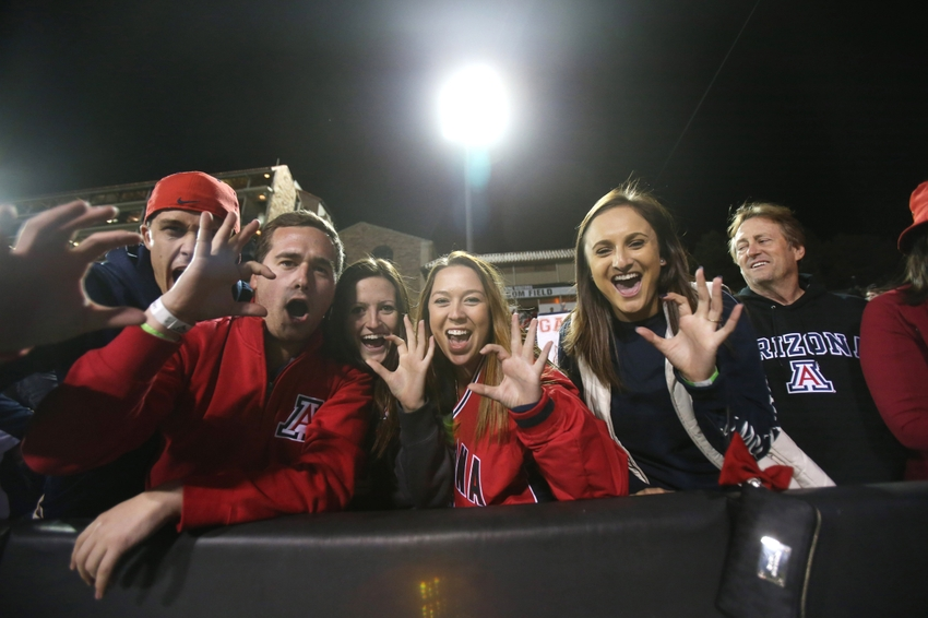 Oct 17, 2015; Boulder, CO, USA; Arizona Wildcats fans cheer their team towards the end of the game against the Colorado Buffaloes at Folsom Field. Arizona won 38-31. Mandatory Credit: Chris Humphreys-USA TODAY Sports