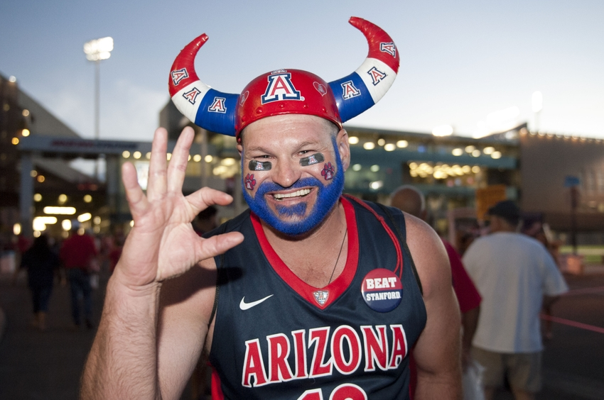 Oct 29, 2016; Tucson, AZ, USA; Arizona Wildcats fan Marvin Cassler poses for a picture before the game against the Stanford Cardinal at Arizona Stadium. Mandatory Credit: Casey Sapio-USA TODAY Sports