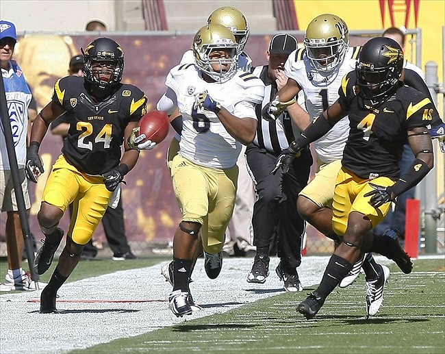 October 27, 2012; Tempe, AZ, USA; UCLA Bruins running back Jordon James (6) runs for 22 yards against the Arizona State Sun Devils during the first half at Sun Devil Stadium. Mandatory Credit: Rick Scuteri-USA TODAY Sports