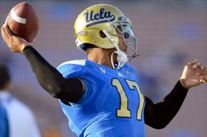 Nov 23, 2013; Pasadena, CA, USA; UCLA Bruins quarterback Brett Hundley (17) before the Bruins game against the Arizona State Sun Devils at Rose Bowl. Mandatory Credit: Robert Hanashiro-USA TODAY Sports