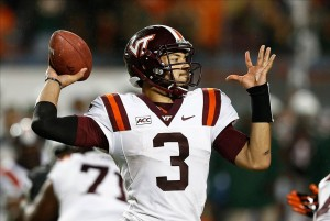 Nov 9, 2013; Miami Gardens, FL, USA; Virginia Tech Hokies quarterback Logan Thomas (3) drops back to pass in the first quarter of a game against the Miami Hurricanes at Sun Life Stadium. Mandatory Credit: Robert Mayer-USA TODAY Sports