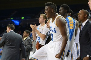 Nov 22, 2013; Los Angeles, CA, USA; UCLA Bruins guard Jordan Adams (3) on the bench in the second half of the game against the Morehead State Eagles at Pauley Pavilion. UCLA won 81-70. Mandatory Credit: Jayne Kamin-Oncea-USA TODAY Sports