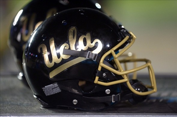 Nov 15, 2013; Pasadena, CA, USA; General view of an alternative black UCLA Bruins helmet on the sidelines during the game against the Washington Huskies at Rose Bowl. Mandatory Credit: Kirby Lee-USA TODAY Sports