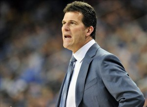 January 5, 2014; Los Angeles, CA, USA; UCLA Bruins head coach Steve Alford watches game action against the Southern California Trojans during the first half at Pauley Pavilion. Mandatory Credit: Gary A. Vasquez-USA TODAY Sports