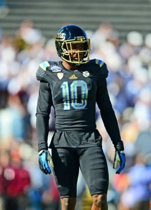 Dec 31, 2013; El Paso, TX, USA; UCLA Bruins cornerback Fabian Moreau (10) before the game against the Virginia Tech Hokies in the 2013 Sun Bowl at Sun Bowl Stadium. UCLA defeated Virginia Tech 42-12. Mandatory Credit: Andrew Weber-USA TODAY Sports