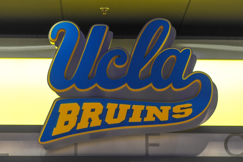 Jan 12, 2014; Los Angeles, CA, USA; A UCLA Bruins logo at the entrance to Pauley Pavilion before the UCLA Bruins defeated Arizona State Sun Devils 87-72. Mandatory Credit: Andrew Fielding-USA TODAY Sports