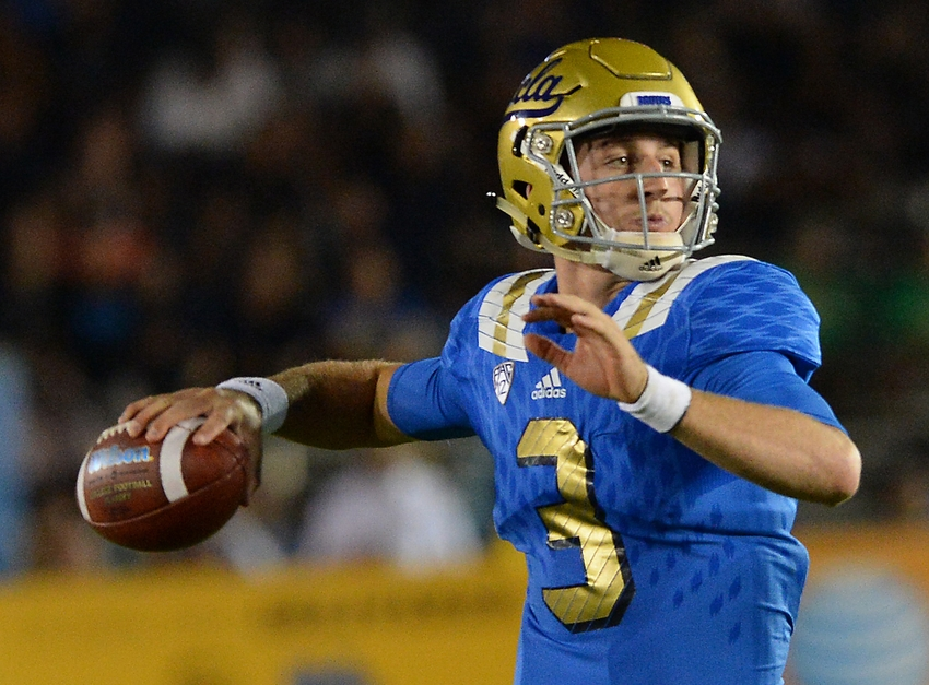 Sep 19, 2015; Pasadena, CA, USA; UCLA Bruins quarterback Josh Rosen (3) sets to pass in the second quarter of the game against the Brigham Young Cougars at the Rose Bowl. Mandatory Credit: Jayne Kamin-Oncea-USA TODAY Sports