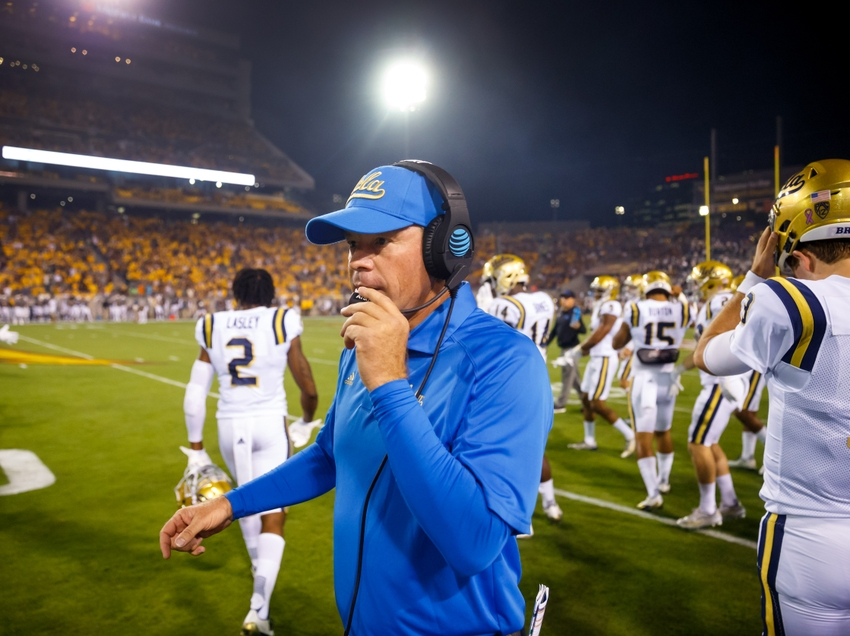 Oct 8, 2016; Tempe, AZ, USA; UCLA Bruins head coach Jim Mora on the sidelines against the Arizona State Sun Devils at Sun Devil Stadium. The Sun Devils defeated the Bruins 23-20. Mandatory Credit: Mark J. Rebilas-USA TODAY Sports