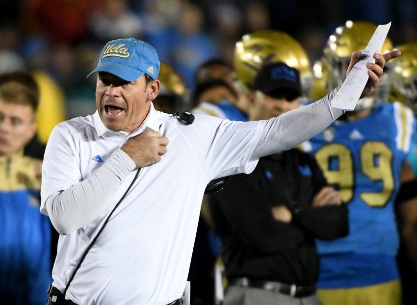 Nov 19, 2016; Pasadena, CA, USA; UCLA Bruins head coach Jim Mora reacts in the second half of the game against the USC Trojans at the Rose Bowl. USC won 36-14. Mandatory Credit: Jayne Kamin-Oncea-USA TODAY Sports