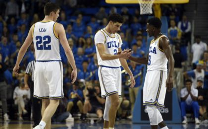 Nov 20, 2016; Los Angeles, CA, USA; UCLA Bruins guard Lonzo Ball (2) celebrates with guard Aaron Holiday (3) during the second half against the Long Beach State 49ers at Pauley Pavilion. The UCLA Bruins won 114-77. Mandatory Credit: Kelvin Kuo-USA TODAY Sports