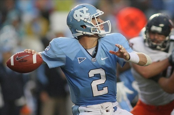 Sep 17, 2011; Chapel Hill, NC, USA; North Carolina Tar Heels quarterback Bryn Renner (2) throws a pass against the Virginia Cavaliers during the fourth quarter at Kenan Stadium. The Tar heels defeated Virginia 28-17. Mandatory Credit: Jeremy Brevard-US PRESSWIRE
