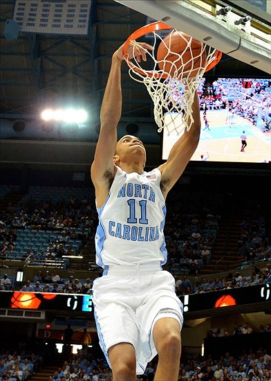 Nov 11, 2012 Raleigh, NC, USA; North Carolina Tar Heels forward Brice Johnson (11) dunks against the Florida Atlantic Owls in the first half at the Dean E. Smith Center. Mandatory Credit: Rob Kinnan-US PRESSWiRE