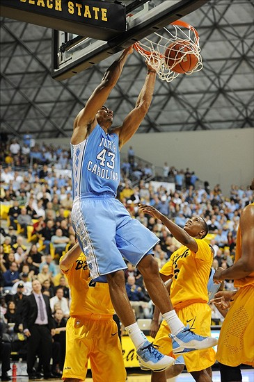 Nov 16, 2012; Long Beach, CA, USA; North Carolina Tar Heels forward James Michael McAdoo (43) dunks the ball against the Long Beach State 49ers during the first half at Walter Pyramid. Mandatory Credit: Kelvin Kuo-US PRESSWIRE