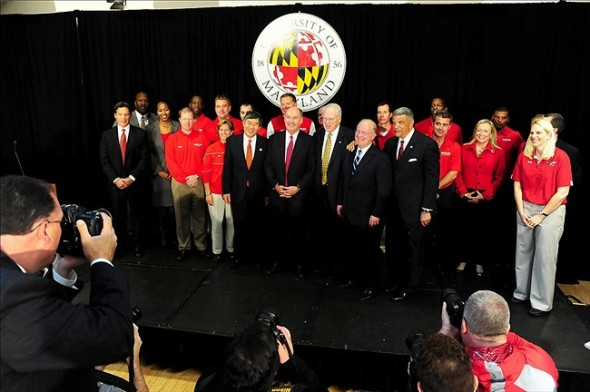 November 19, 2012;College Par, MD, USA; Maryland coaches and staff pose for a photo after the Big Ten Press Conference at Adele Stamp Union. Mandatory Credit: Evan Habeeb-US PRESSWIRE