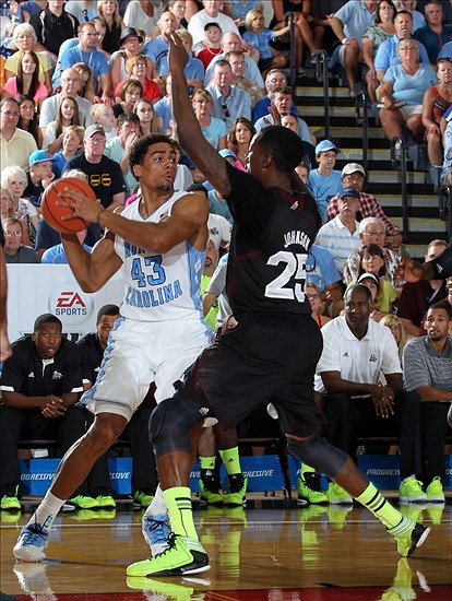 Nov 19, 2012; Lahaina, HI, USA; North Carolina Tar Heels forward James Michael McAdoo (43) is guarded by Mississippi State Bulldogs forward Roquez Johnson (25) during the 2012 EA SPORTS Maui Invitational at the Lahaina Civic Center. Mandatory Credit: Brian Spurlock-US PRESSWIRE