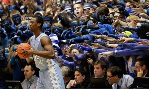 Mar 3, 2012; Durham, NC, USA; Duke Blue Devils fans also known as Cameron Crazies taunt North Carolina Tar Heels forward Harrison Barnes (40) as he takes the ball out against the Blue Devils during the first half at Cameron Indoor Stadium. Mandatory Credit: Mark Dolejs-USA TODAY Sports