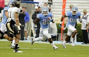 Sep 29, 2012; Chapel Hill, NC, USA; North Carolina Tar Heels running back Giovani Bernard (26) carries the ball against the Idaho Vandals in the first half at Kenan Memorial Stadium. Mandatory Credit: Liz Condo-USA TODAY Sports