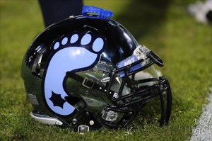 Nov 15, 2012; Charlottesville, VA, USA; A mouthpiece sits on a North Carolina Tar Heel helmet prior to a game against the Virginia Cavaliers at Scott Stadium. Mandatory Credit: Rafael Suanes-US PRESSWIRE