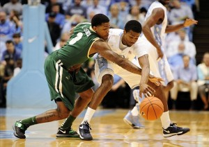 Dec 1, 2012; Chapel Hill, NC, USA; UAB Blazers guard Terence Jones (3) reaches for the ball against the North Carolina Tar Heels during the first half at Dean E. Smith Center. Mandatory Credit: Curtis Wilson-US PRESSWIRE
