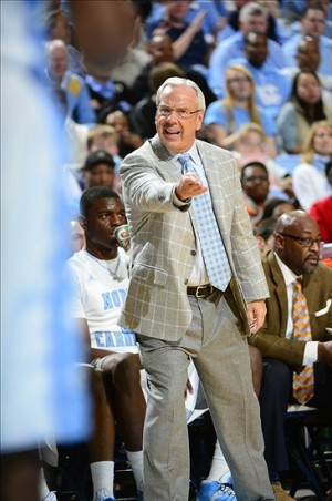 Dec 22, 2012; Chapel Hill, NC, USA; North Carolina Tar Heels head coach Roy Williams reacts in the first half at the Dean E Smith Center. Mandatory Credit: Bob Donnan-USA TODAY Sports