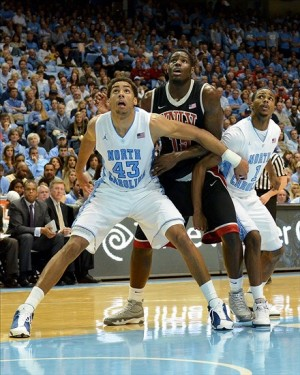 Dec 29, 2012 Chapel Hill, NC, USA. North Carolina Tar Heels forward James Michael McAdoo (43) and guard Dexter Strickland (1) box out UNLV Runnin
