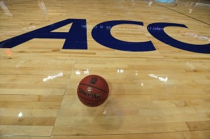 Mar 9, 2012; Atlanta, GA, USA; The ACC logo and game ball as seen on the floor prior to the start of the quarter-final game between the North Carolina Tar Heels and the Maryland Terrapins in the 2012 ACC Men
