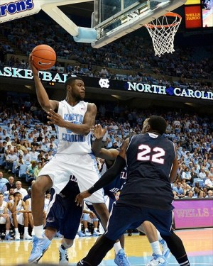 Nov 11, 2012 Chapel Hill, NC, USA; North Carolina Tar Heels guard Reggie Bullock (35) saves a loose ball from going out of bounds against the Florida Atlantic Owls during the second half at the Dean E. Smith Center. North Carolina won 80-56. Mandatory Credit: Rob Kinnan-US PRESSWiRE
