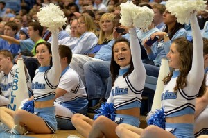 Dec 8, 2012 Chapel Hill, NC, USA. North Carolina Tar Heel cheerleaders cheer during the second half against the East Tennessee State Buccaneers at the Dean E. Smith Center.  North Carolina won 78-55.   Mandatory Credit: Rob Kinnan-USA TODAY Sports