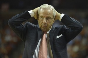 Dec 19, 2012; Austin, TX, USA; North Carolina Tar Heels head coach Roy Williams reacts against the Texas Longhorns during the second half at the Frank Erwin Special Events Center. Texas beat North Carolina 85-67. Mandatory Credit: Brendan Maloney-USA TODAY Sports