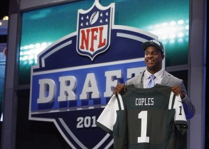 Apr 26, 2012; New York, NY, USA; Quinton Coples (North Carolina) is introduced as the number sixteen overall pick to the New York Jets in the 2012 NFL Draft at Radio City Music Hall. Mandatory Credit: Jerry Lai-USA TODAY Sports