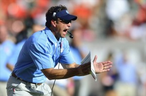 Oct 13, 2012; Miami, FL, USA; North Carolina Tar Heels head coach Larry Fedora reacts during a game against the Miami Hurricanes at Sun Life Stadium. Mandatory Credit: Steve Mitchell-USA TODAY Sports