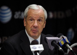 Jan 12, 2013; Tallahassee, FL, USA; North Carolina Tar Heels head coach Roy Williams talks to the media after the game against the Florida State Seminoles at the Donald L. Tucker Center. Mandatory Credit: Melina Vastola-USA TODAY Sports