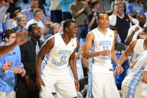 Feb 2, 2013; Chapel Hill, NC, USA; North Carolina Tar Heels forward Joel James (0) and forward Brice Johnson (11) react in overtime. The Tar Heels defeated the Hokies 72-60 at the Dean E. Smith Center. Mandatory Credit: Bob Donnan-USA TODAY Sports