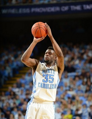 Feb 2, 2013; Chapel Hill, NC, USA; North Carolina Tar Heels guard/forward Reggie Bullock (35) shoots in the second half. The Tar Heels defeated the Hokies 72-60 at the Dean E. Smith Center. Mandatory Credit: Bob Donnan-USA TODAY Sports