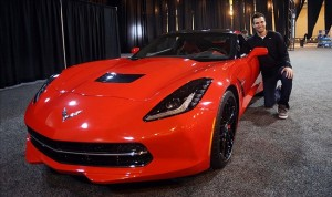 Feb 4, 2013; New Orleans, LA, USA; Baltimore Ravens quarterback Joe Flacco poses with his new corvette presented to him after a press conference at the New Orleans Convention Center the day after defeating the San Francisco 49ers in Super Bowl XLVII at the Mercedes-Benz Superdome. Mandatory Credit: Jerry Lai-USA TODAY Sports