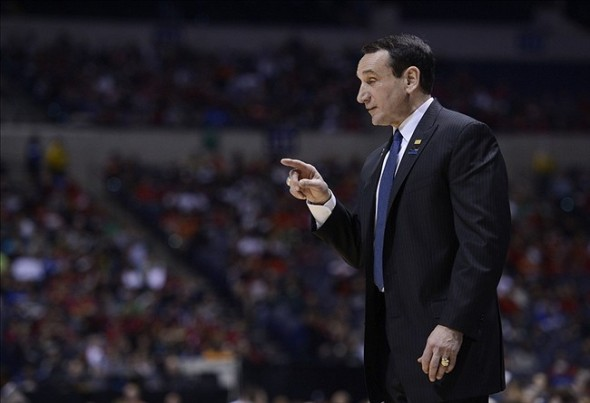 Mar 29, 2013; Indianapolis, IN, USA; Duke Blue Devils head coach Mike Krzyzewski in the first half during the semifinals of the Midwest regional of the 2013 NCAA tournament against the Michigan State Spartans at Lucas Oil Stadium. Mandatory Credit: Jamie Rhodes-USA TODAY Sports