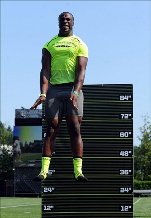 Jul 1, 2013; Beaverton, OR, USA; Elijah Hood does a vertical leap drill during the SPARQ Rating National Championship at Nike World Headquarters in Beaverton, Oregon on Monday July, 1, 2013. Mandatory Credit: Steve Dykes-USA TODAY Sports