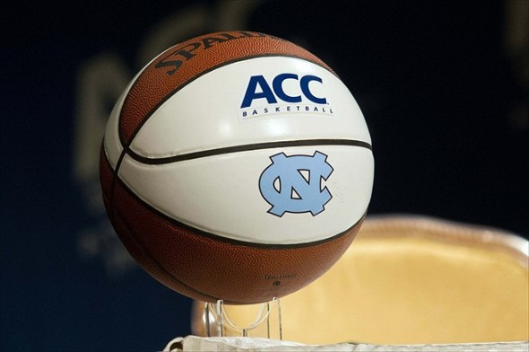 Oct 17, 2012; Charlotte, NC, USA; A North Carolina Tarheels basketball sits on a table during the ACC media day held at the Ritz-Carlton. Mandatory Credit: Jeremy Brevard-USA TODAY Sports