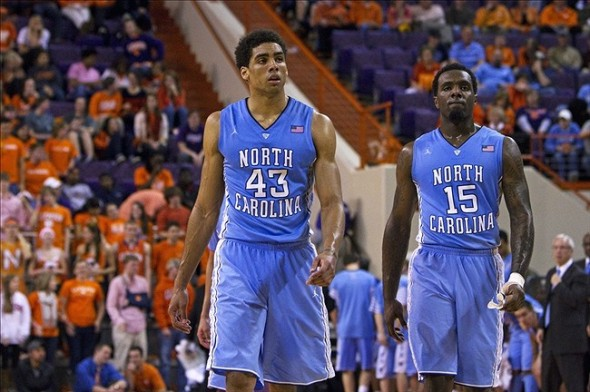 Feb 28, 2013; Clemson, SC, USA; North Carolina Tar Heels forward James Michael McAdoo (43) and guard P.J. Hairston (15) react during the second half against the Clemson Tigers at J.C. Littlejohn Coliseum. Tar Heels won 68-59. Mandatory Credit: Joshua S. Kelly-USA TODAY Sports