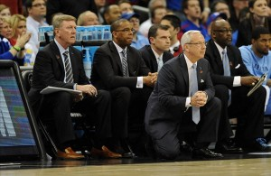 Mar 24, 2013; Kansas City, MO, USA; North Carolina Tar Heels head coach Roy Williams watches play in the second half of the game against the Kansas Jayhawks during the third round of the NCAA basketball tournament at the Sprint Center. Mandatory Credit: Denny Medley-USA TODAY Sports