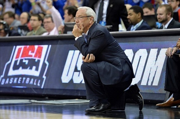 Mar 24, 2013; Kansas City, MO, USA; North Carolina Tar Heels head coach Roy Williams looks out onto the court against the Kansas Jayhawks in the second half during the third round of the NCAA basketball tournament at the Sprint Center. Kansas defeated North Carolina 70-58. Mandatory Credit: Peter G. Aiken-USA TODAY Sports