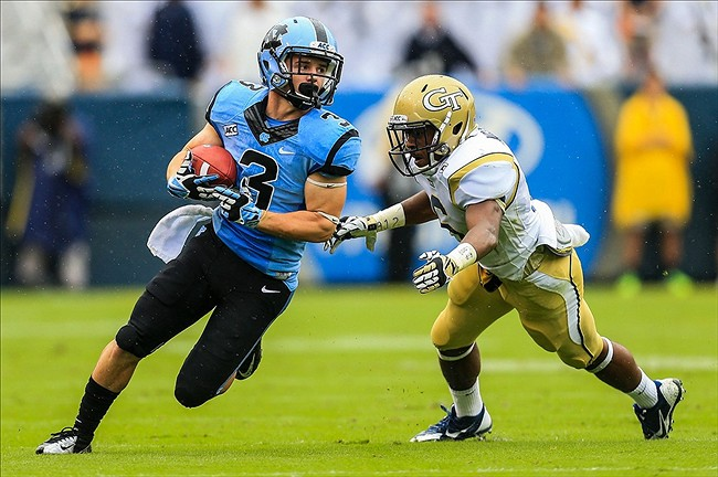 Sep 21, 2013; Atlanta, GA, USA; North Carolina Tar Heels wide receiver Ryan Switzer (3) runs for extra yards after a catch in the first half against the Georgia Tech Yellow Jackets at Bobby Dodd Stadium. Mandatory Credit: Daniel Shirey-USA TODAY Sports