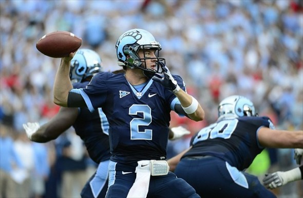 Oct 27, 2012; Chapel Hill, NC, USA; North Carolina Tar Heels quarterback Bryn Renner (2) looks to pass in the first quarter at Kenan Stadium. Mandatory Credit: Bob Donnan-USA TODAY Sports