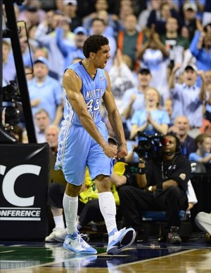 Mar 17, 2013; Greensboro, NC, USA; North Carolina Tar Heels forward James Michael McAdoo (43) reacts in the second half. The Hurricanes defeated the Tar Heels 87-77 in the championship game of the ACC tournament at Greensboro Coliseum. Mandatory Credit: Bob Donnan-USA TODAY Sports