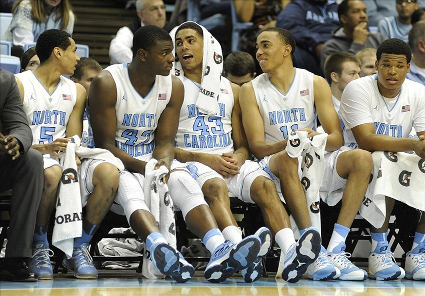 Dec 7, 2013; Chapel Hill, NC, USA; North Carolina Tar Heels guard Marcus Paige (5), forward Joel James (42), forward James Michael McAdoo (43), forward Brice Johnson (11), and forward Kennedy Meeks (3) sit on the bench against the NC-Greensboro Spartans at Dean E. Smith Student Activities Center. North Carolina won 81-50. Mandatory Credit: Liz Condo-USA TODAY Sports