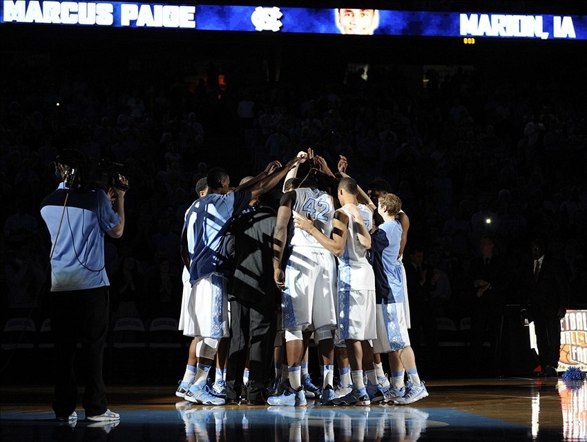 Nov 15, 2013; Chapel Hill, NC, USA; The North Carolina Tar Heels huddle before the start of their game against the Holy Cross Crusaders at Dean E. Smith Student Activities Center. Mandatory Credit: Liz Condo-USA TODAY Sports