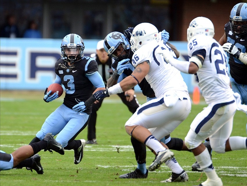 Nov 23, 2013; Chapel Hill, NC, USA; North Carolina Tar Heels receiver Ryan Switzer (3) runs the ball during the first half against the Old Dominion Monarchs at Kenan Memorial Stadium. Mandatory Credit: Rob Kinnan-USA TODAY Sports