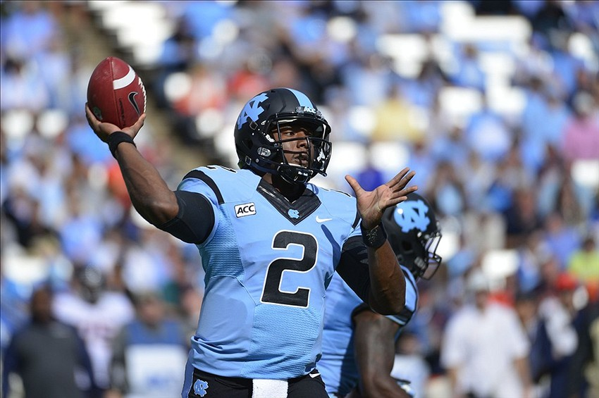 Nov 9, 2013; Chapel Hill, NC, USA; North Carolina Tar Heels quarterback Marquise Williams (2) passes the ball in the first quarter at Kenan Memorial Stadium. Mandatory Credit: Bob Donnan-USA TODAY Sports
